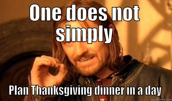 Thanksgiving plans - ONE DOES NOT SIMPLY PLAN THANKSGIVING DINNER IN A DAY One Does Not Simply