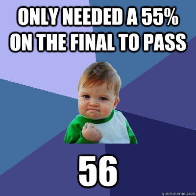 only needed a 55% on the final to pass 56 - only needed a 55% on the final to pass 56  Success Kid