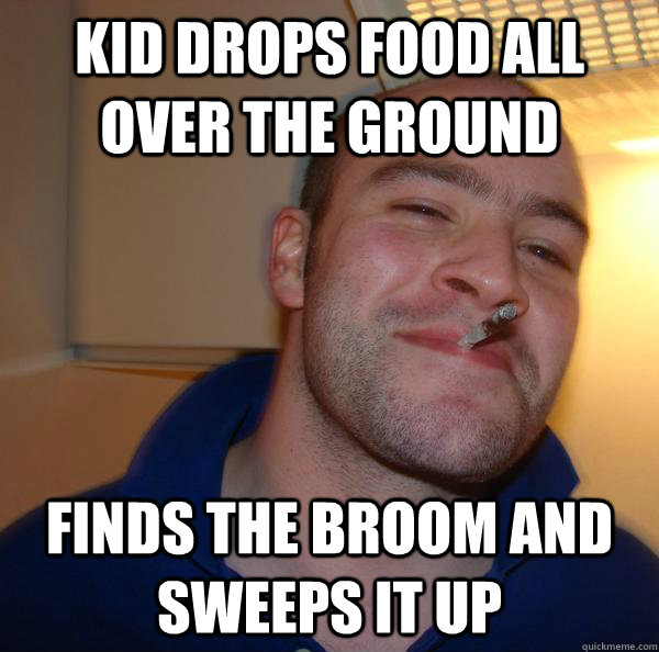 kid drops food all over the ground finds the broom and sweeps it up - kid drops food all over the ground finds the broom and sweeps it up  Misc