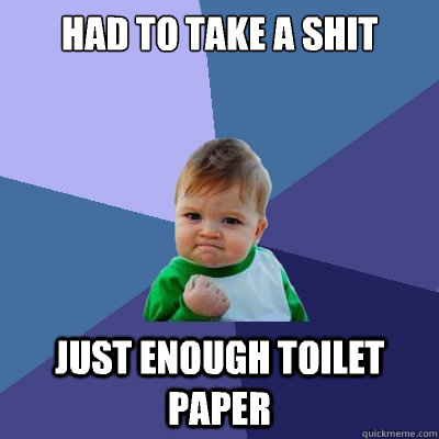 Had to take a shit Just enough toilet paper - Had to take a shit Just enough toilet paper  Success Kid