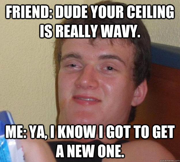 Friend: Dude your ceiling is really wavy. Me: Ya, I know I got to get a new one. - Friend: Dude your ceiling is really wavy. Me: Ya, I know I got to get a new one.  10 Guy