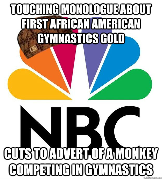 Touching monologue about first African American Gymnastics GOLD   cuts to advert of a monkey competing in gymnastics