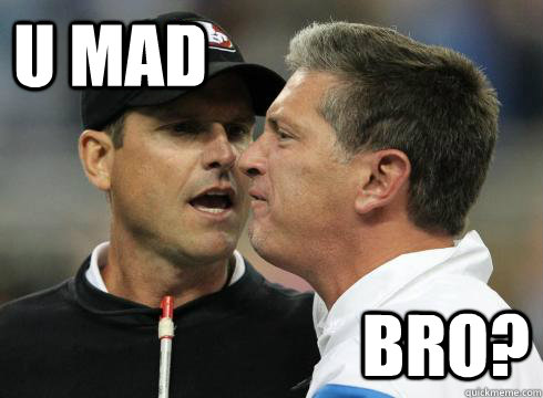U Mad Bro?  Harbaugh U Mad
