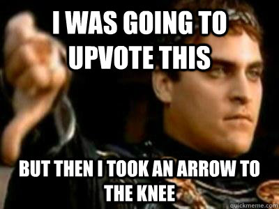 I was going to upvote this but then i took an arrow to the knee - I was going to upvote this but then i took an arrow to the knee  Downvoting Roman