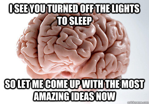 I see you turned off the lights to sleep So let me come up with the most amazing ideas now - I see you turned off the lights to sleep So let me come up with the most amazing ideas now  Scumbag Brain