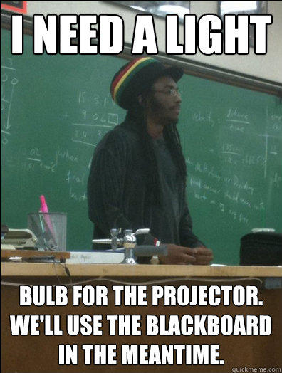 I Need a Light bulb for the projector. We'll use the blackboard in the meantime. - I Need a Light bulb for the projector. We'll use the blackboard in the meantime.  Rasta Science Teacher