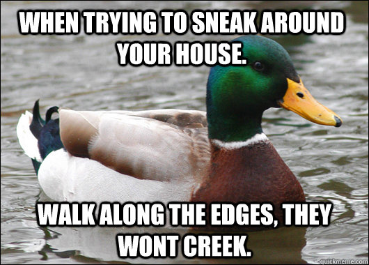 When trying to sneak around your house. Walk along the edges, they wont creek. - When trying to sneak around your house. Walk along the edges, they wont creek.  Actual Advice Mallard