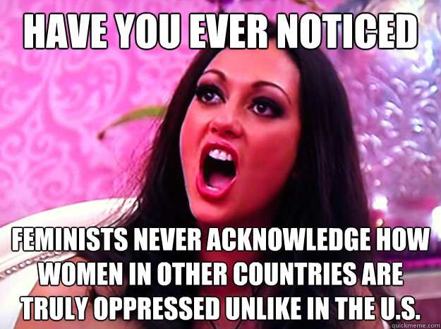 have you ever noticed feminists never acknowledge how women in other countries are truly oppressed unlike in the U.S. - have you ever noticed feminists never acknowledge how women in other countries are truly oppressed unlike in the U.S.  Feminist Nazi