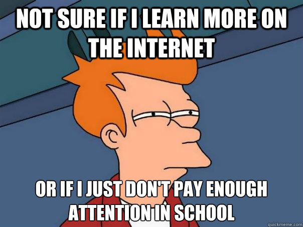 Not sure if i learn more on the internet Or if i just don't pay enough attention in school - Not sure if i learn more on the internet Or if i just don't pay enough attention in school  Futurama Fry