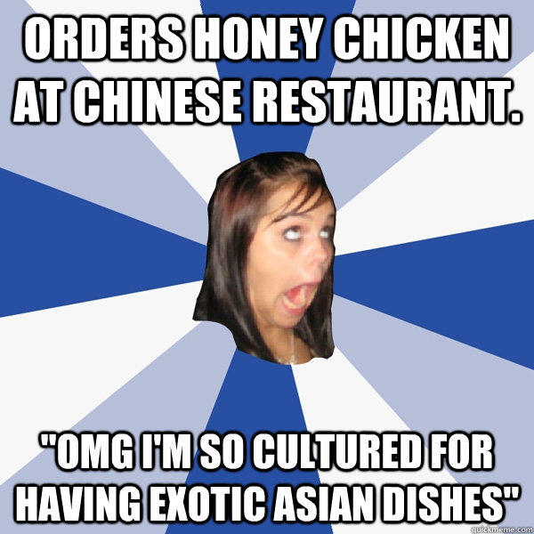 Orders honey chicken at chinese restaurant.
