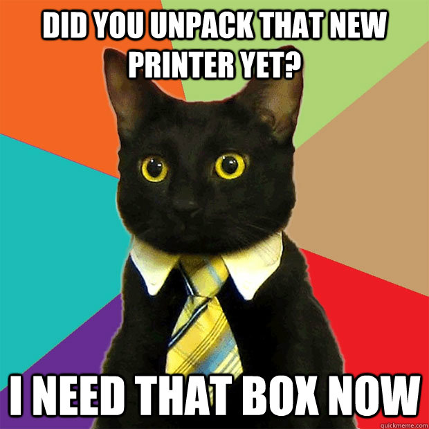 DID YOU UNPACK THAT NEW PRINTER YET? I NEED THAT BOX NOW - DID YOU UNPACK THAT NEW PRINTER YET? I NEED THAT BOX NOW  Business Cat