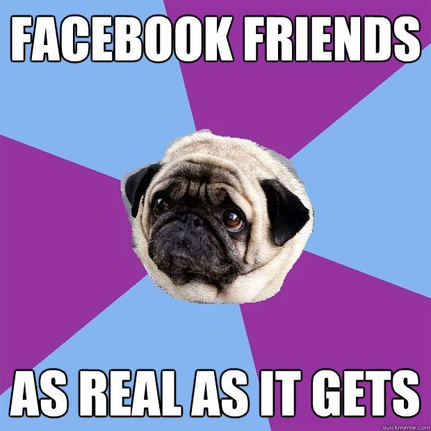 Facebook friends as real as it gets - Facebook friends as real as it gets  Lonely Pug