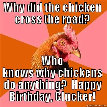 WHY DID THE CHICKEN CROSS THE ROAD? WHO KNOWS WHY CHICKENS DO ANYTHING?  HAPPY BIRTHDAY, CLUCKER! Anti-Joke Chicken