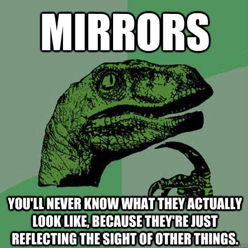 Mirrors You'll never know what they actually look like, because they're just reflecting the sight of other things. - Mirrors You'll never know what they actually look like, because they're just reflecting the sight of other things.  Philosoraptor