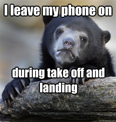 I leave my phone on during take off and landing - I leave my phone on during take off and landing  Confession Bear