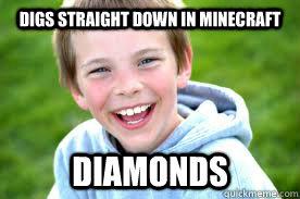 digs straight down in minecraft diamonds