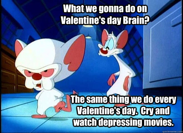 What we gonna do on Valentine's day Brain? The same thing we do every Valentine's day.  Cry and watch depressing movies. - What we gonna do on Valentine's day Brain? The same thing we do every Valentine's day.  Cry and watch depressing movies.  Pinky and the Brain