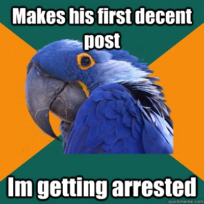 Makes his first decent post Im getting arrested  - Makes his first decent post Im getting arrested   Paranoid Parrot