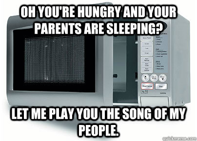 Oh you're hungry and your parents are sleeping? Let me play you the song of my people.  Scumbag Microwave