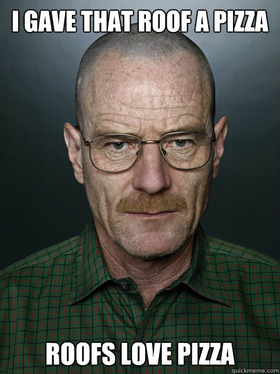 I gave that roof a pizza Roofs love pizza   Advice Walter White