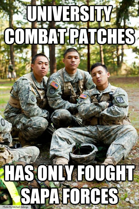 university combat patches has only fought SAPA forces