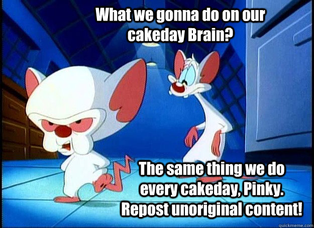 What we gonna do on our cakeday Brain? The same thing we do every cakeday, Pinky. Repost unoriginal content! - What we gonna do on our cakeday Brain? The same thing we do every cakeday, Pinky. Repost unoriginal content!  Pinky and the Brain