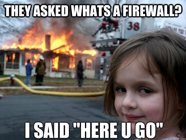 THEY ASKED WHATS A FIREWALL? I SAID