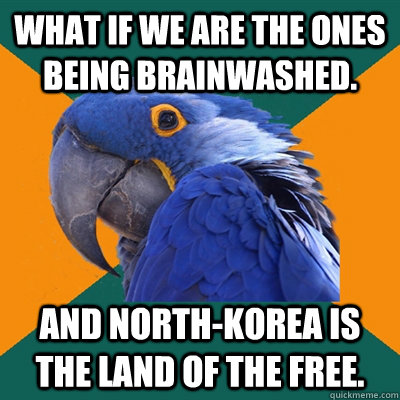 What if we are the ones being brainwashed. And North-Korea is the land of the free. - What if we are the ones being brainwashed. And North-Korea is the land of the free.  Paranoid Parrot
