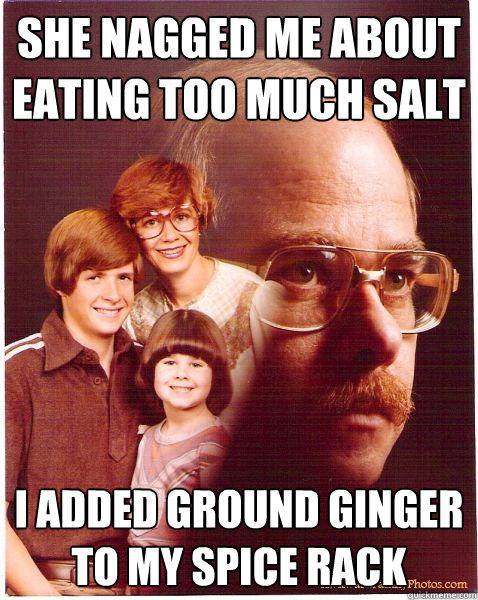 She nagged me about eating too much salt I added ground ginger to my spice rack - She nagged me about eating too much salt I added ground ginger to my spice rack  Vengeance Dad