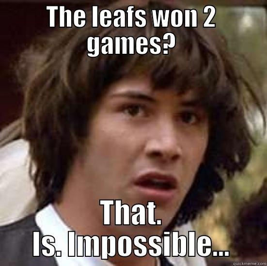 THE LEAFS WON 2 GAMES? THAT. IS. IMPOSSIBLE... conspiracy keanu