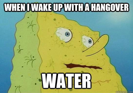 When i wake up with a hangover  WATER