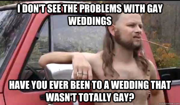 I don't see the problems with gay weddings Have you ever been to a wedding that wasn't totally gay?  Almost Politically Correct Redneck