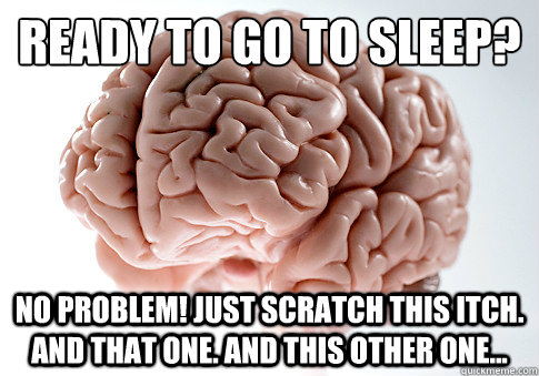 Ready to go to sleep? No problem! Just scratch this itch. And that one. And this other one... - Ready to go to sleep? No problem! Just scratch this itch. And that one. And this other one...  Scumbag Brain