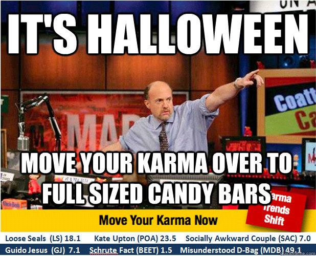 It's Halloween Move your karma over to full sized candy bars - It's Halloween Move your karma over to full sized candy bars  Jim Kramer with updated ticker