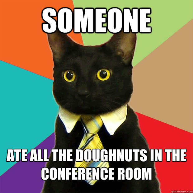 Someone ate all the doughnuts in the conference room - Someone ate all the doughnuts in the conference room  Business Cat