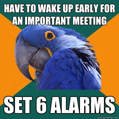 Have to wake up early for an important meeting set 6 alarms - Have to wake up early for an important meeting set 6 alarms  Paranoid Parrot