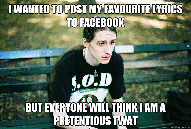 I wanted to post my favourite lyrics to Facebook But everyone will think I am a pretentious twat - I wanted to post my favourite lyrics to Facebook But everyone will think I am a pretentious twat  First World Metal Problems
