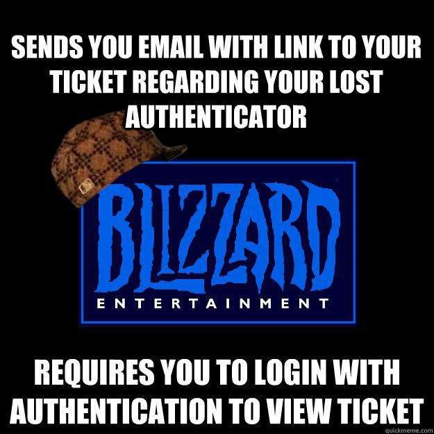 Sends you email with link to your ticket regarding your lost authenticator Requires you to login with authentication to view ticket