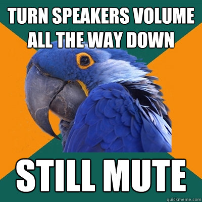 turn speakers volume all the way down still mute - turn speakers volume all the way down still mute  Paranoid Parrot