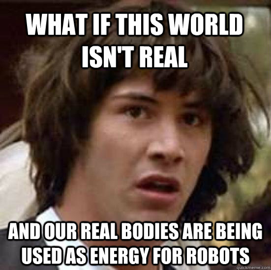 What if this world isn't real and our real bodies are being used as energy for robots - What if this world isn't real and our real bodies are being used as energy for robots  conspiracy keanu