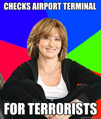 Checks airport terminal for terrorists  - Checks airport terminal for terrorists   Sheltering Suburban Mom