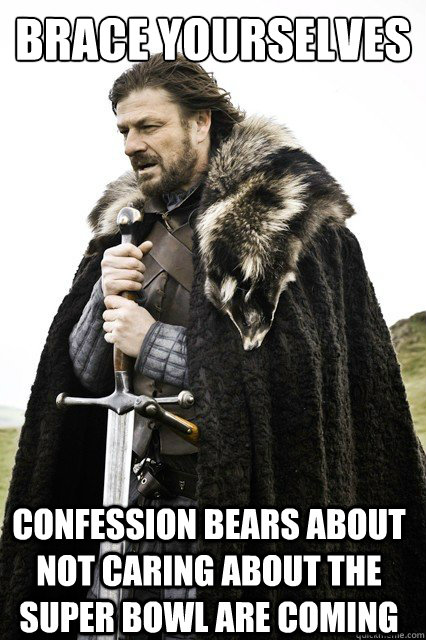 brace yourselves confession bears about not caring about the super bowl are coming - brace yourselves confession bears about not caring about the super bowl are coming  Brace Yourselves!
