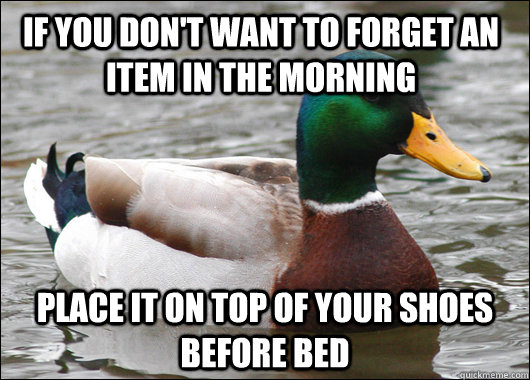 If you don't want to forget an item in the morning Place it on top of your shoes before bed - If you don't want to forget an item in the morning Place it on top of your shoes before bed  Actual Advice Mallard