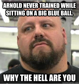 Arnold never trained while sitting on a big blue ball.  why the hell are you