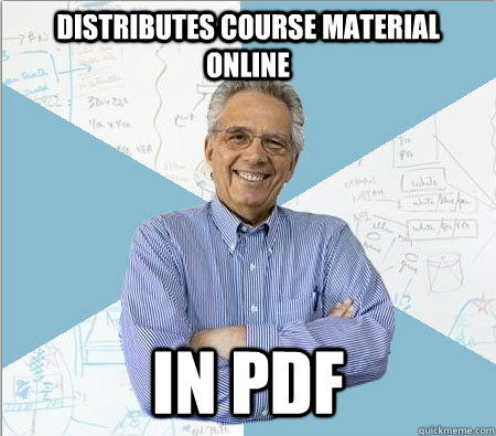 Distributes course material online in pdf