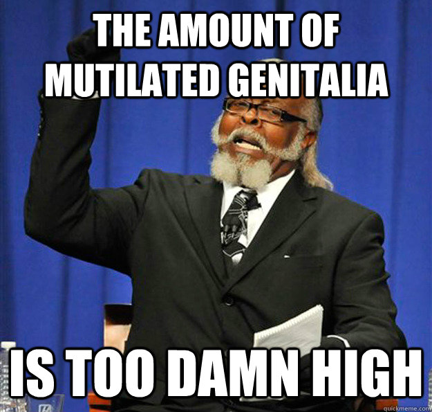 The amount of mutilated genitalia  Is too damn high - The amount of mutilated genitalia  Is too damn high  Jimmy McMillan