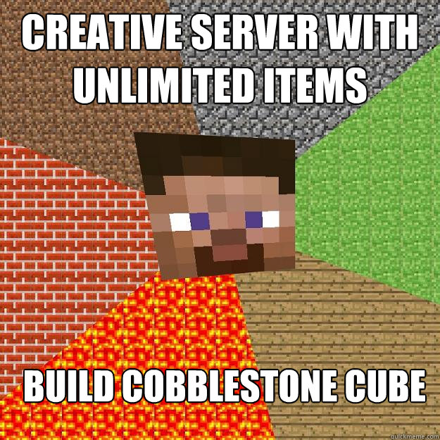Creative server with unlimited items Build cobblestone cube
