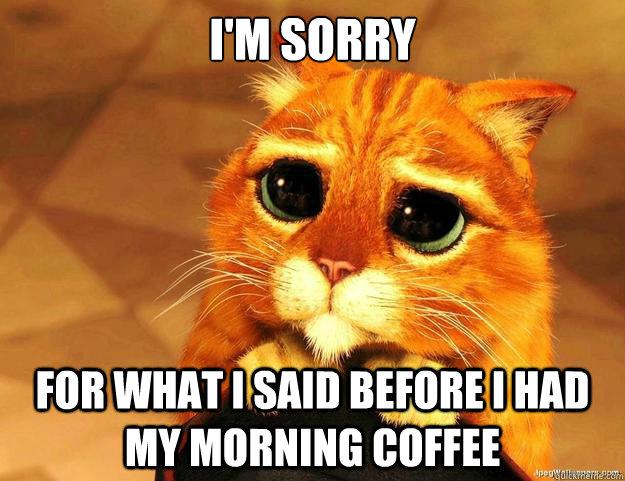 I'm sorry for what i said before I had my morning coffee - I'm sorry for what i said before I had my morning coffee  Puss In Boots is Sorry