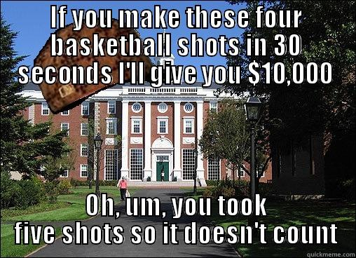 University student win - IF YOU MAKE THESE FOUR BASKETBALL SHOTS IN 30 SECONDS I'LL GIVE YOU $10,000 OH, UM, YOU TOOK FIVE SHOTS SO IT DOESN'T COUNT Scumbag University