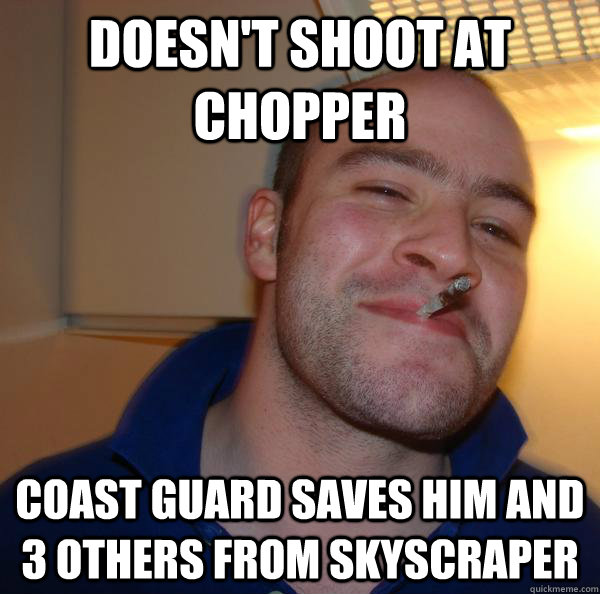 doesn't shoot at chopper coast guard saves him and 3 others from skyscraper - doesn't shoot at chopper coast guard saves him and 3 others from skyscraper  Misc